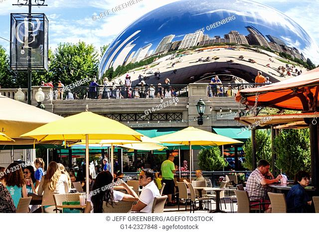 Illinois, Chicago, Loop, Millennium Park, Park Grill, restaurant, alfresco, dining, outdoor, umbrellas, yellow, Cloud Gate, The Bean, artist Anish Kapoor