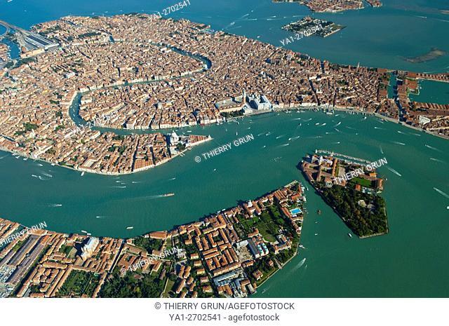 Aerial view of Venice, Guidecca and San Giorgio Maggiore islands, Italy, Europe