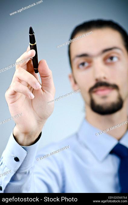 Man pressing virtual buttons