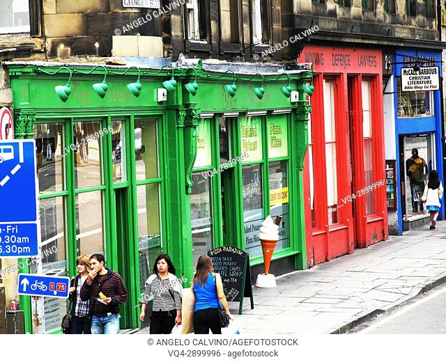Historic Town Houses and Colourful Shopfronts in Edinburgh Old Town; Scotland, Europe