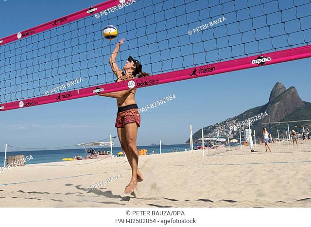 Jackie Silva, Brazil's first Olympic gold medallist in women's volleyball in Atlanta 1996, in front of her volleyball school at the beach of Ipanema in Rio de...