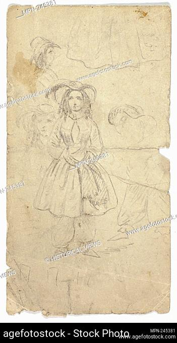 Sketches of Young Girl (recto); Sketches of Banjo Player (verso) - n.d. (recto); 1800/1899 (verso) - Unknown Artist possibly German or British
