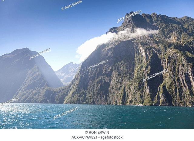 View of Milford Sound, New Zealand from a tour boat