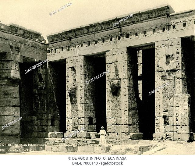 Columns of the temple of Medinet Habu, Thebes, Egypt, photograph by Schroeder and Cie Edition, Zurich, ca 1890