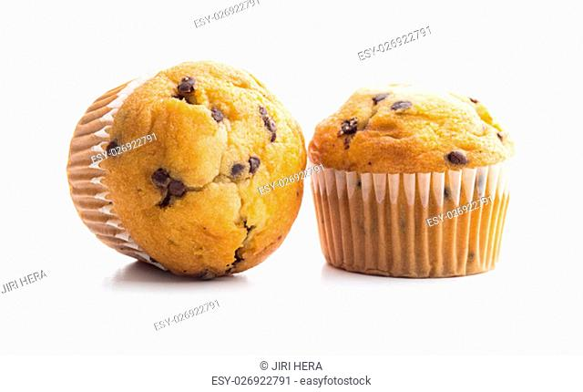 The tasty chocolate muffin isolated on white background
