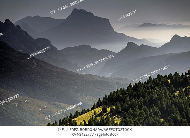Panoramic views of Añisclo Valley near of Ordesa and Monte Pedrido National Park, Huesca Pyrenees, Aragon, Spain