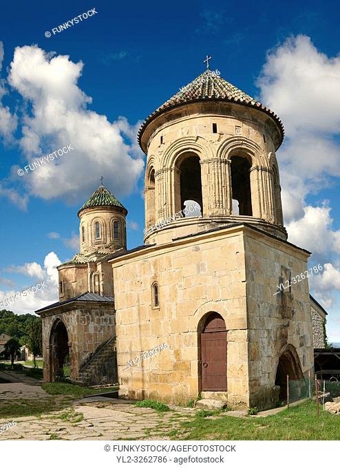 Gelati Georgian Orthodox churches bell tower with St Nicholas church, 13th century, behind
