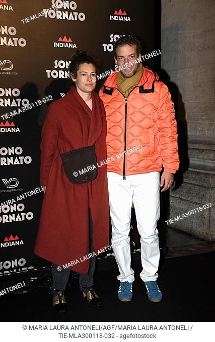 Ginevra Elkann with husband Giovanni Gaetani dell'Aquila d'Aragona during the Black Carpet of film Sono tornato, Rome, ITALY-29-01-2018