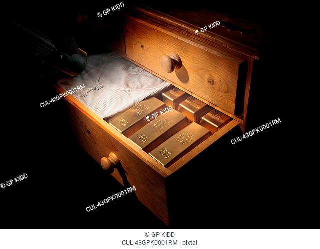 Gold bars in dresser drawer