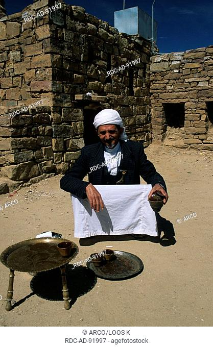 Man with turban making tea, Thula, Yemen, Jemenite