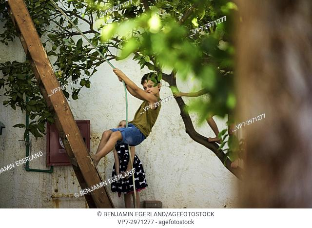playful young boy standing on ladder in garden. Australian ethnicity