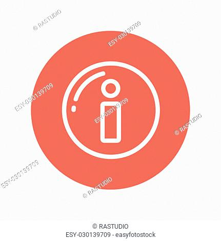 Information sign thin line icon for web and mobile minimalistic flat design. Vector white icon inside the red circle
