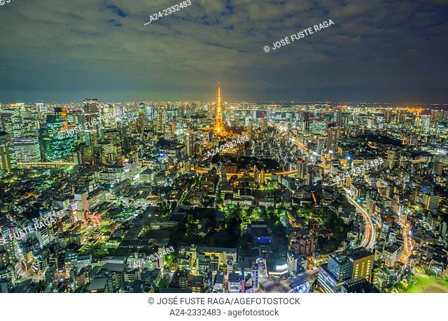 Japan , Tokyo City,Tokyo Tower , Panorama from Roppongi Hills Bldg