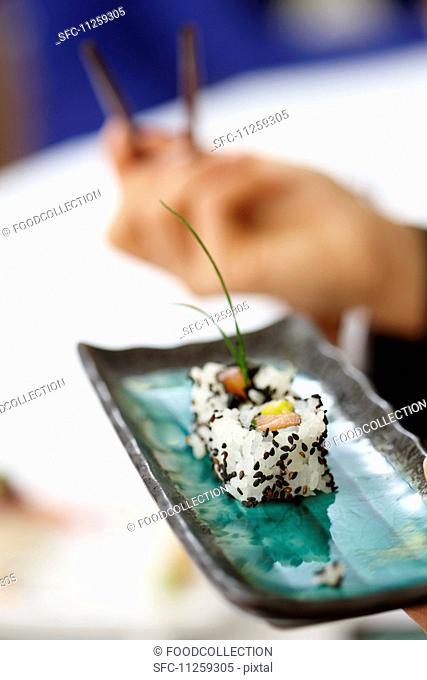 Sushi in a restaurant
