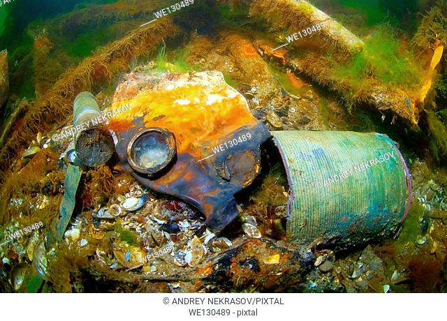 "Gas mask. shipwreck Russian Minelayer """"Kolchoznik"""" (Collective farmer), Black Sea, Ukraine, Eastern Europe, Europe"