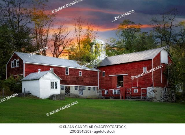 Last Light At The Red Barn - Red barn and silo at a farmhouse in Sussex County, New Jersey
