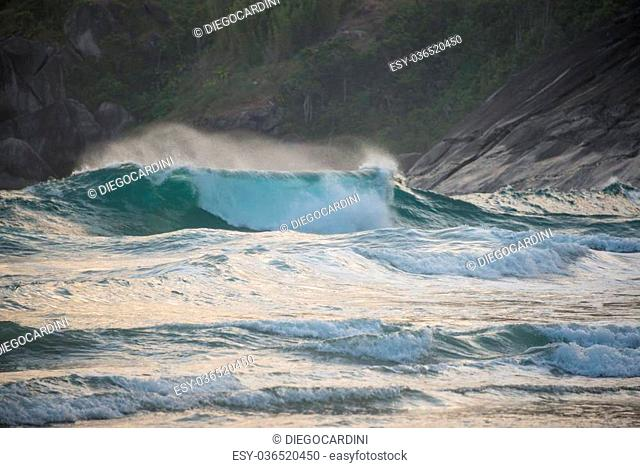 Incredible Waves at Sao Paulo Ilhabela Island. Bonete Beach
