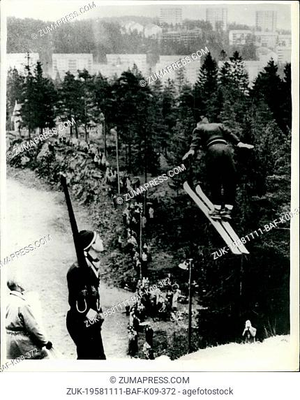 Nov. 11, 1958 - Ski-ing on Plastic. New Norwegian practice jump.: Norwegian ski enthusiasts have found a new way of continuing their hobby even in the summer...