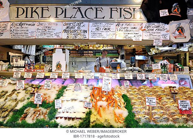 Fishmonger, fresh seafood, Dungeness Crabs (Metacarcinus magister), cooked Stone Crab (Lithodidae), Pike Place Public Market, Fish Market, Seattle, Washington
