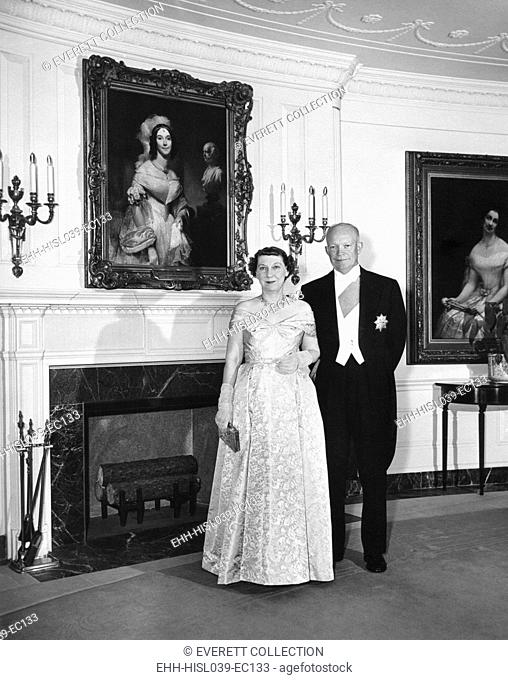 President and Mamie Eisenhower before a dinner at the Ethiopian Embassy in honor of Haile Selassie. May 28, 1954. - (BSLOC-2014-16-80)