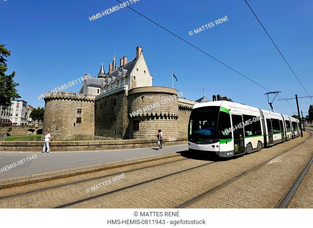 France, Loire Atlantique, Nantes, European Green Capital 2013, Chateau des Ducs de Bretagne (Dukes of Brittany Castle), tram of the TAN (public transportation...