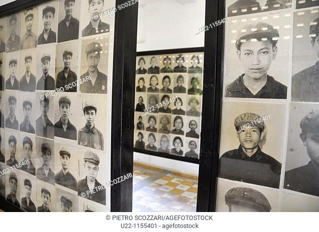 Phnom Penh (Cambodia): photos of the victims at the Tuol Sleng Genocide Museum, former school and Security Prison 21 (S-21) of the Khmer Rouge regime