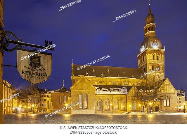 Winter evening at Riga Cathedral, Latvia