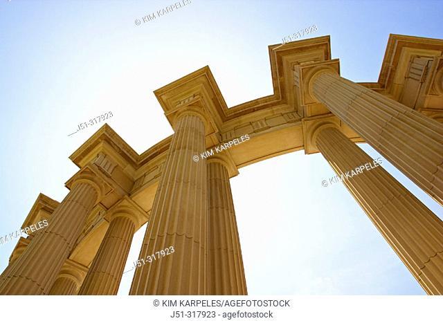 Millennium Park, park along lakefront and Michigan Avenue, columns shot from below. Chicago. Illinois, USA