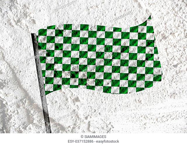 checkered flag on Cement wall texture background design