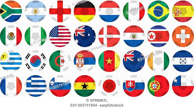 uniforms of national flags participating in world cup in circular shape
