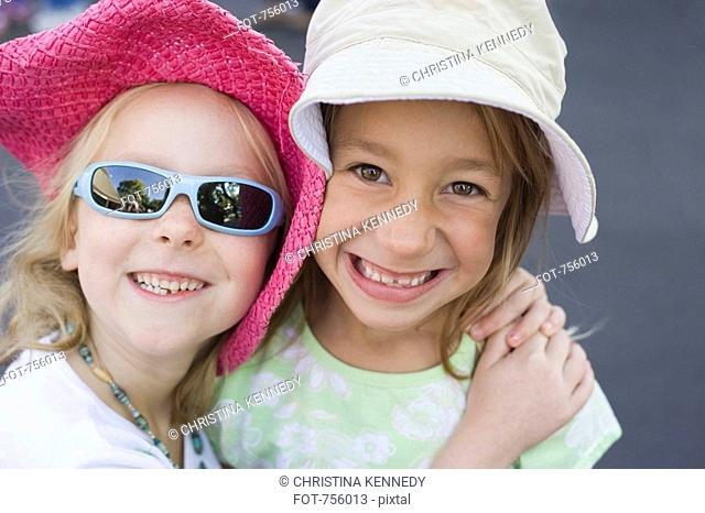 Two young girls, portrait