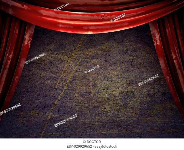 red velvet curtain stage