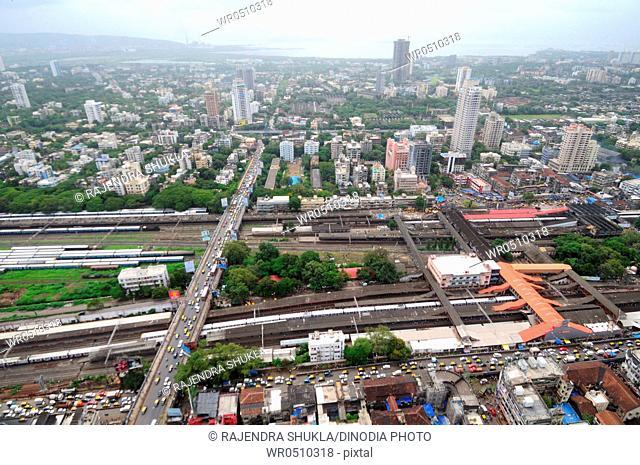 aerial view of dadar station with tilak bridge , Bombay Mumbai , Maharashtra , India