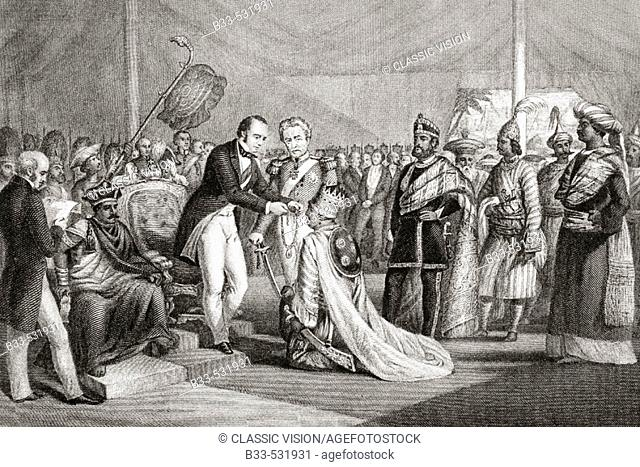 Grand Durbar at Cawnpore after the suppression of the Sepoy Revolt. Lord Canning investing the loyal Rajahs with decorations and proprietary rights