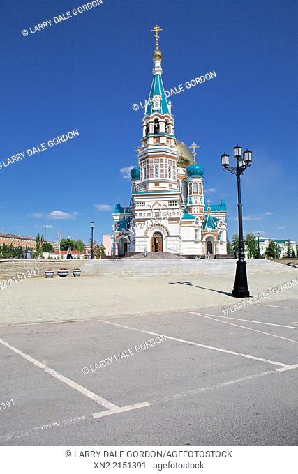 The Dormition Cathedral, or Assumption Cathedral, was rebuilt in the early 21st Century to the original 1891 design in Omsk, Omsk Oblast, Siberia, Russia