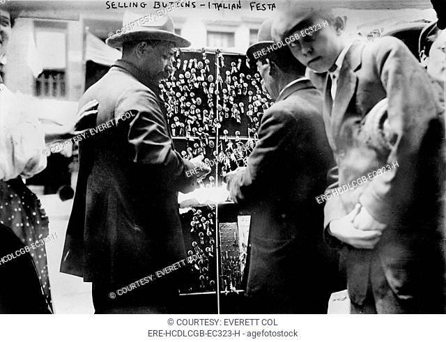 New York City, selling buttons at festival in Little Italy, circa 1908