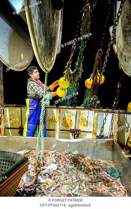 SAILORS THROWING THE EMPTY NET BACK INTO THE SEA WITH THE LIVE FISH AND PRAWNS NOW ON THE SORTING TABLE, SEA FISHING ON A SHRIMP TRAWLER 'QUENTIN-GREGOIRE' OFF...