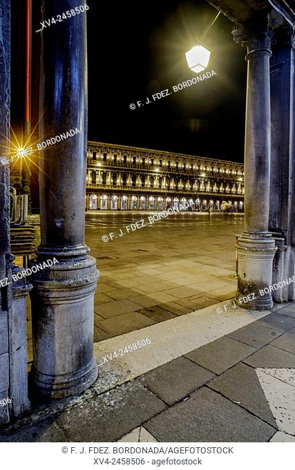 Piazza San Marco, Venice by night, World Heritage Site, Italy, Europe