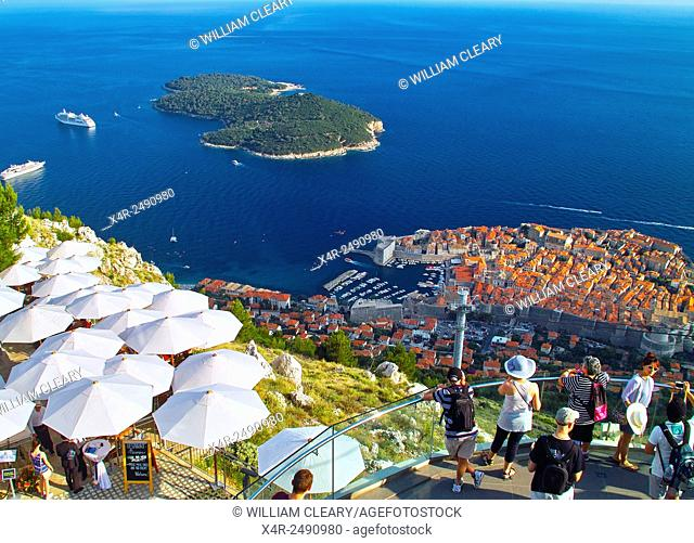 Dubrovnik and Lokrum Island viewed from the top of Srd Hill. Dubrovnik, Dalmatian Coast, Croatia