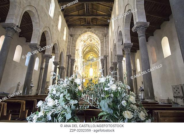 The cathedral basilica interior Cefalu townscape Sicily village on the sea Italy