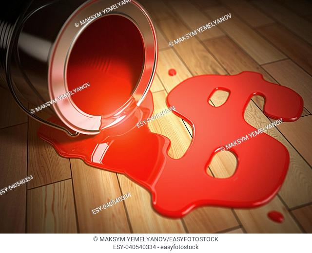 House renovation or construction concept. Can with spilled red paint and dollar sign. Costs of renovation. 3d illustration