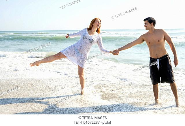 View of couple on beach