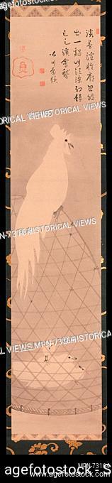 長沢蘆筆・皆川淇園賛 白鶏図/Rooster, Hen and Chicks. Artist: Attributed to Nagasawa Rosetsu (Japanese, 1754-1799); Calligrapher: Minagawa Kien...