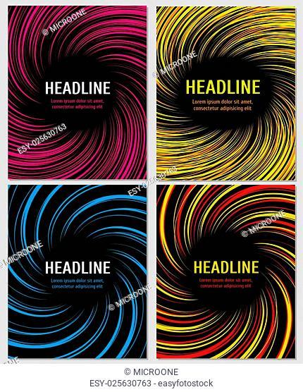 Spiral color speed lines set. Vector layout for business brochures. Spiral action color booklet or banner, swirl radial pattern on banner page illustration