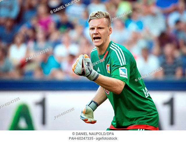 Leverkusen's goalkeeper Bernd Leno in action during a test match between German soccer club Bayer 04 Leverkusen and Austrian club Red Bull Salzburg at the Red...