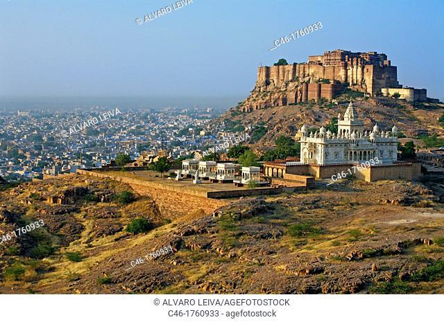 Jaswant Thada Memorial and Meherangarh fort in Jodhpur  Rajasthan  India