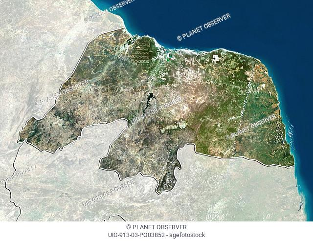Satellite view of the State of Rio Grande do Norte, Brazil. This image was compiled from data acquired by LANDSAT 5 & 7 satellites