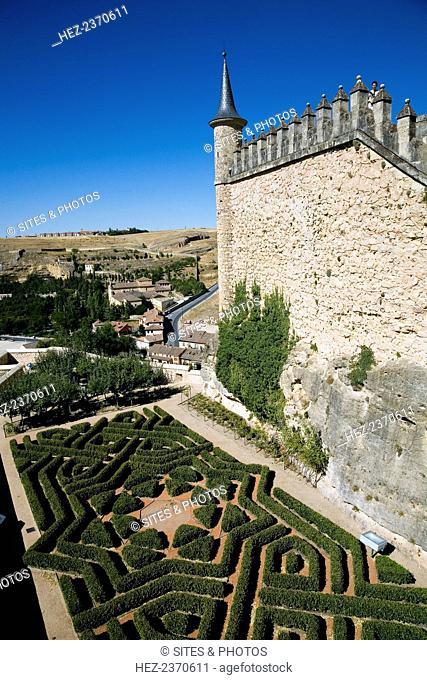 The gardens of the Alcazar of Segovia, Segovia, Spain, 2007. These gardens have a geometrical shape, like a labyrinth. The Alcazar of Segovia was originally...