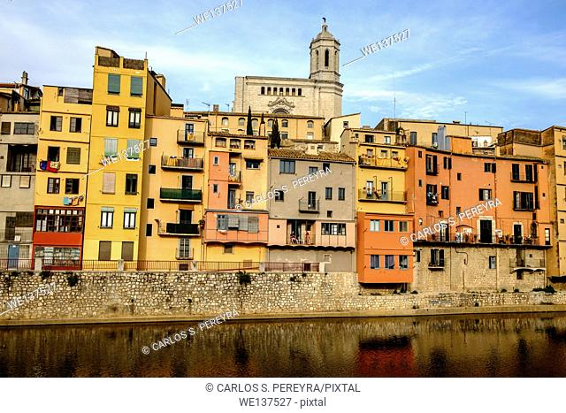 Coloured houses on the Onyar River. Spain