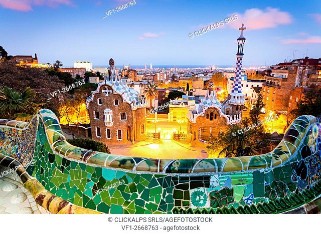 Barcelona, Spain. Park Guell after sunset, lights on